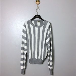 Show Me Your MuMu Grey/White Striped Sweater, S